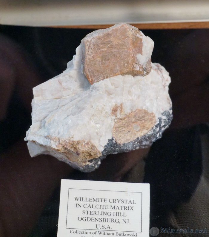 Willemite Crystal in Calcite from the Sterling Hill Mine, Ogdensburg, NJ