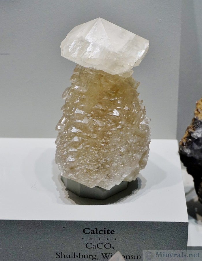 Large Calcite Crystal on Calcite from Shullsberg, Wisconsin