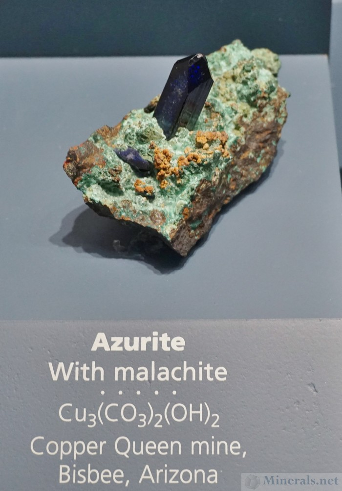 Prismatic Azurite Crystal from the Copper Queen Mine, Bisbee, Arizona