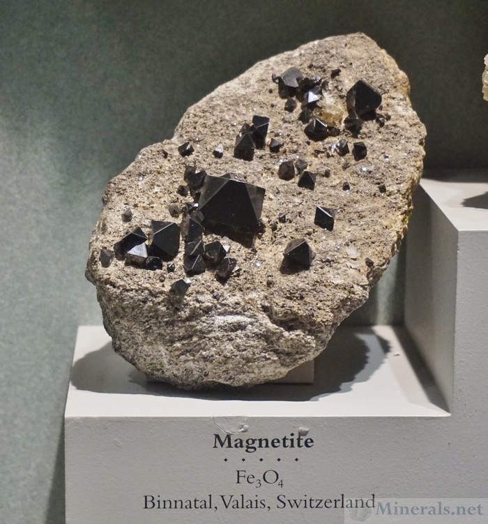 Magnetite Octahedrons in Matrix from Binnantal, Valais, Switzerland