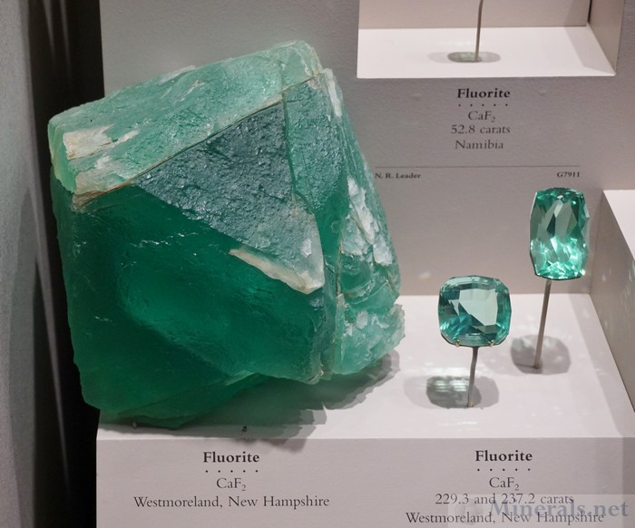 Green Fluorite Crystal and Cut Gems from Westmoreland, New Hampshire