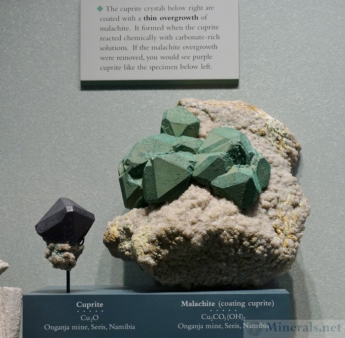 Cuprite with Malachite Coating from the Onganja Mine, Seeis, Namibia