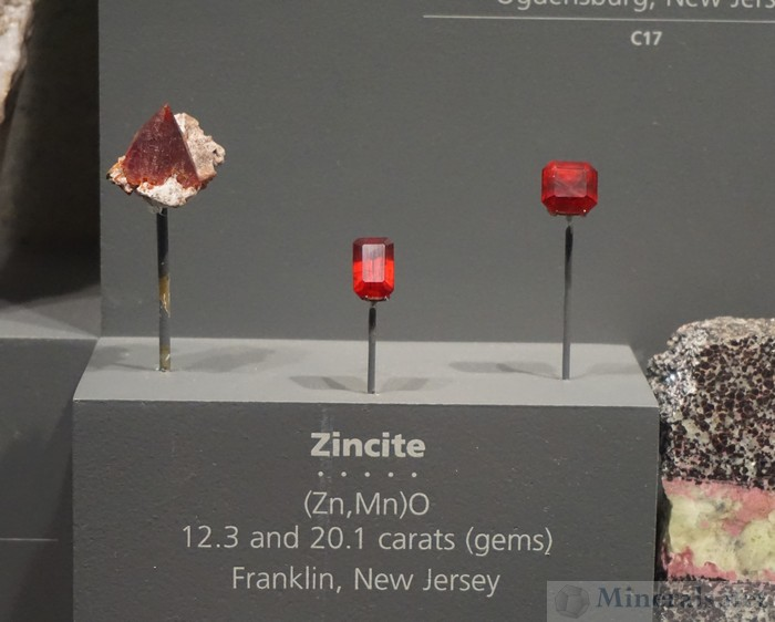 Zincite Crystals and Cut Gems from Franklin, New Jersey