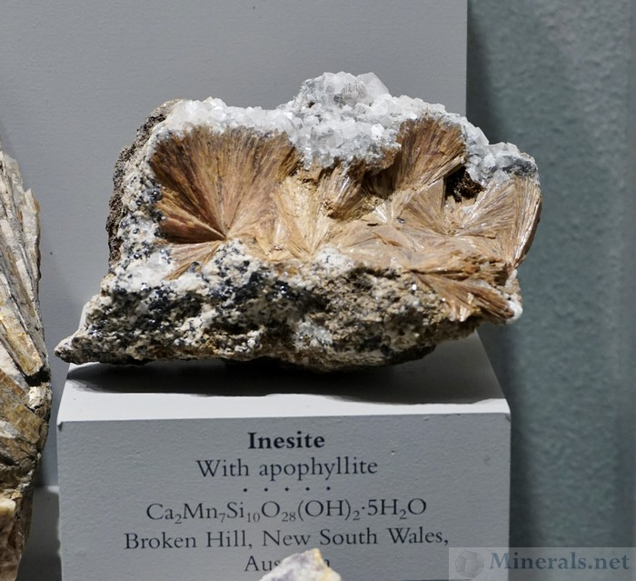 Inesite with Apophyllite from Broken Hill, NSW, Australia
