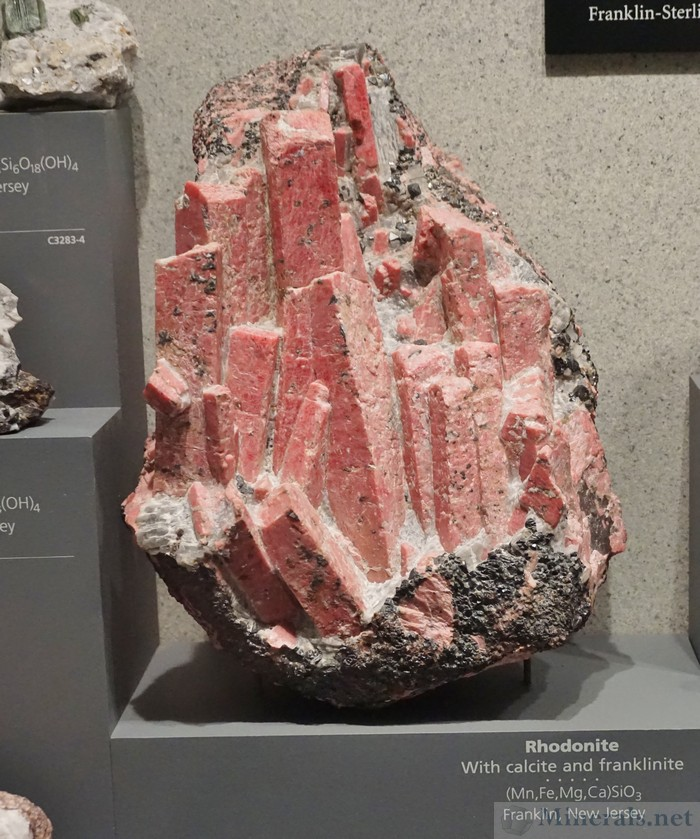 Rhodonite with Calcite & Franklinite from Franklin, New Jersey