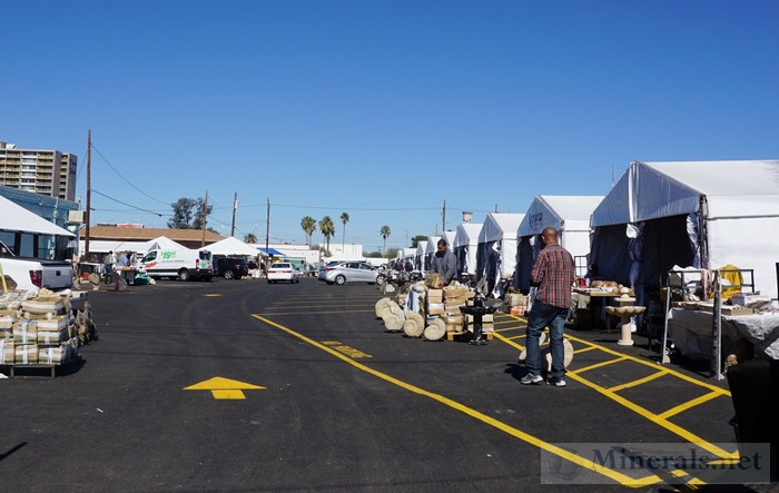 Rows of Moroccan Dealers in Tents Tucson Minerals