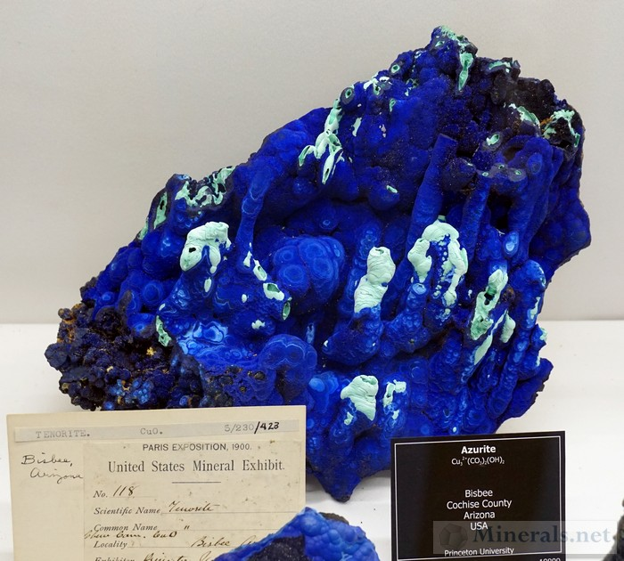 Azurite stalagmites from Bisbee, Arizona University of Arizona Mineral Museum Donated from Princeton University in 2013