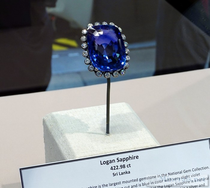 The Logan Sapphire, 422 carats, from Sri Lanka Smithsonian Institution National Museum of Natural History
