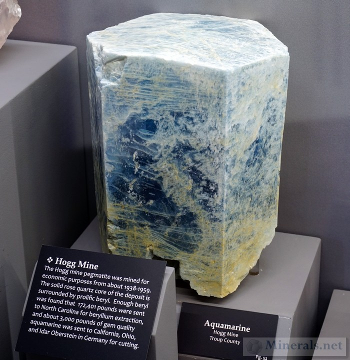 Giant Aquamarine Crystal from the Hogg Mine, Troup Co., Georgia Tellus Science Museum