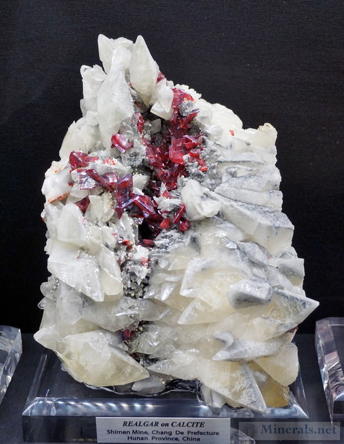 Realgar on Calcite from the Shimen Mine, Hunan Province, China