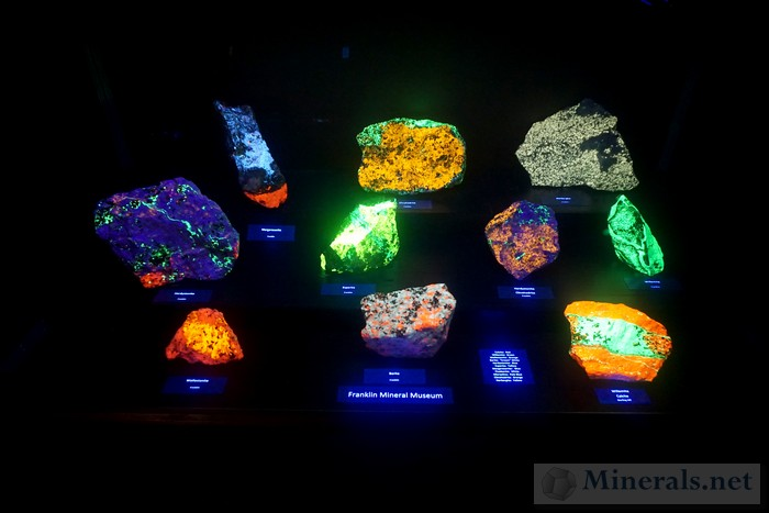 Fluorescent Minerals from the Franklin Mineral Museum NJ