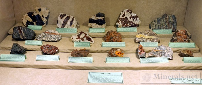 Zincite Case from the Franklin Mineral Museum