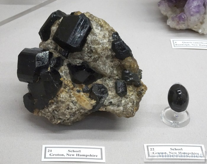 Schorl Tourmaline Crystals and Gem from Groton, NH
