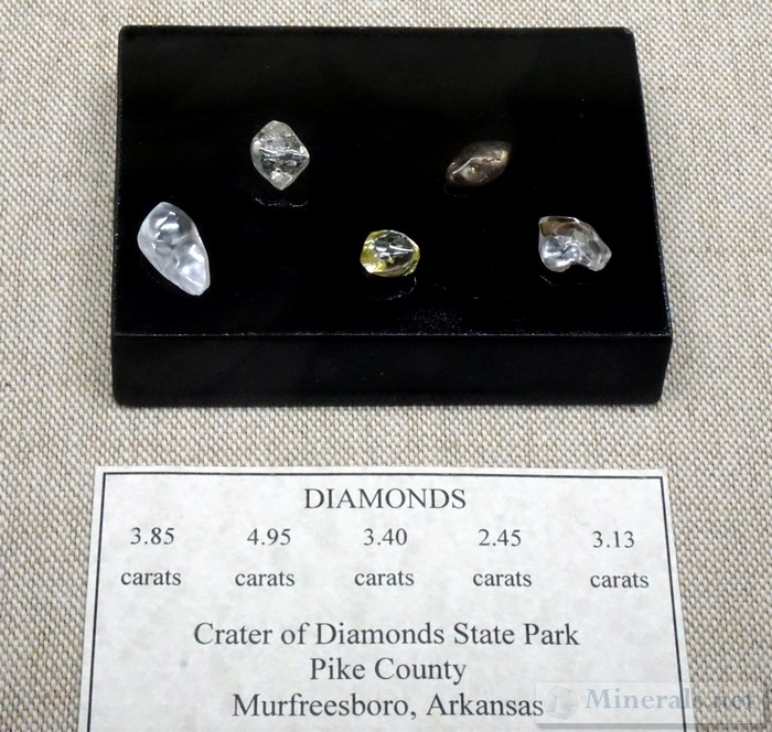 Diamonds from Crater of Diamonds State Park, Murfreesboro, AR Matilda and Karl Pfeffer Museum