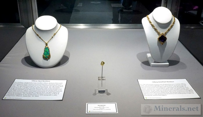 Tiffany Opal Necklace, Arkansas Diamond Crystal, and Tiffany Amethyst Necklace Smithsonian Institution
