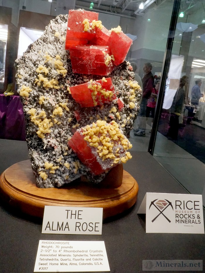 The Alma Rose - Grouping of Giant Rhodochrosite Crystals from Alma, CO Rice Museum of Rocks & Minerals
