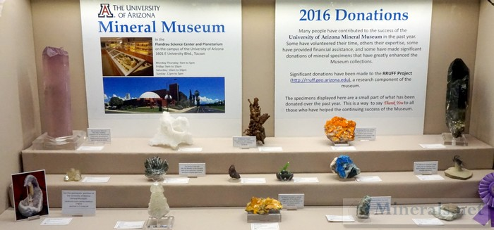 2016 Donations at the University of Arizona Mineral Museum