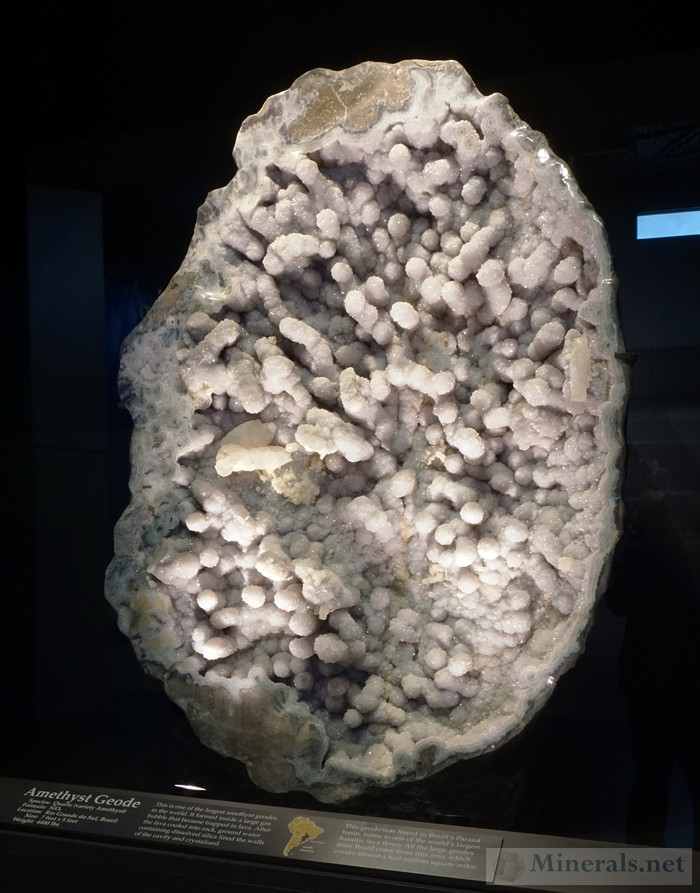 Giant Brazilian Quartz geode near the Entrance of the Weinman Mineral Gallery at the Tellus Museum