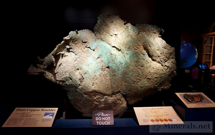 Giant Float Copper Boulder from the Keweenaw Peninsula, Michigan Tellus Museum