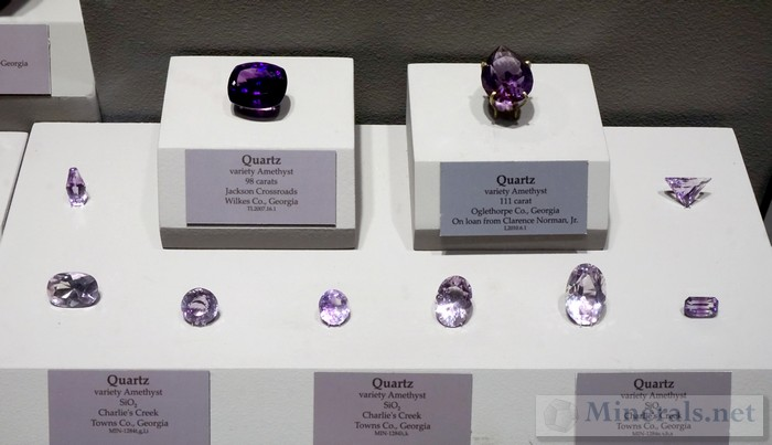 Cut Amethyst Gemstones from Various Georgia Locations
