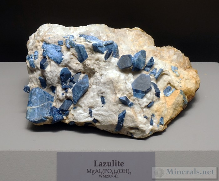 Deep Blue Lazulite Crystals in Matrix