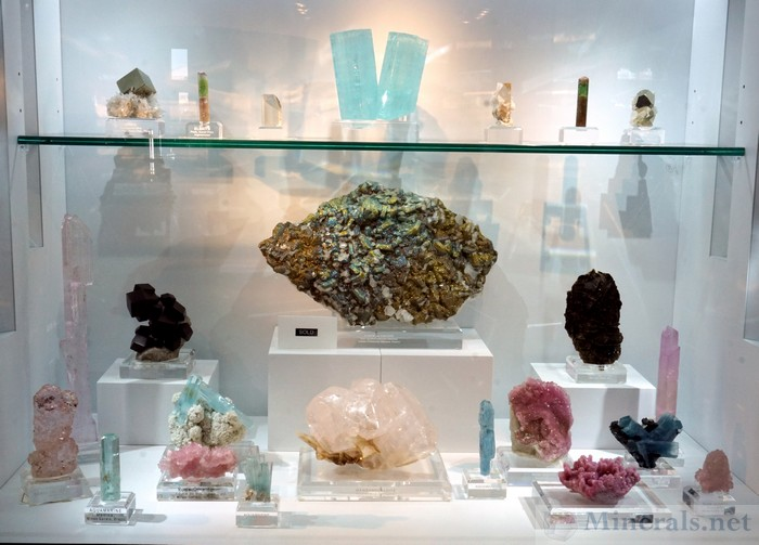 The Arkenstone Display of Many Fine Gem Minerals in the Showcase Area