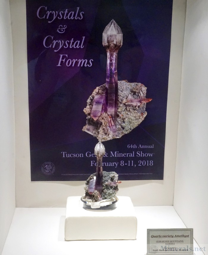 Show Poster of an Amethyst Scepter with the Specimen from the Goboboseb Mountains, Namibia, Scott Rudolph Mineral Museum
