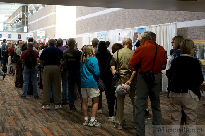 The Line of People Waiting to get into the Tucson Gem and Mineral Show® at Prior to Opening