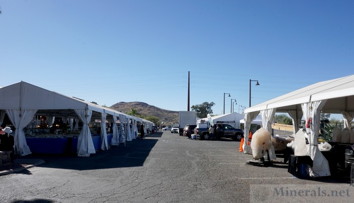 Dealer Tents at the Pueblo Show, with Sentinel Peak, an Iconic Tucson Mountain, in Background