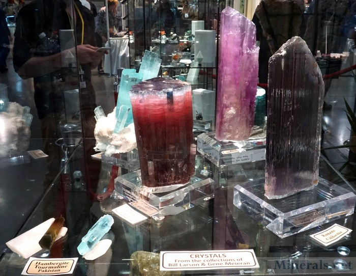 Large Gem Crystals (Tourmaline, Kunzite, Aquamarine, and Hambergite), Collections of Bill Larson and Gene Meieran