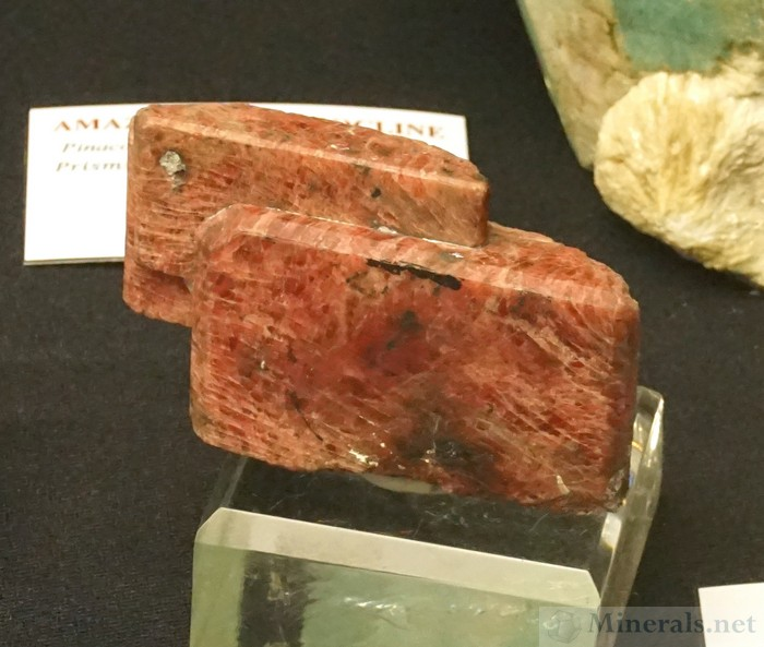 Stacked Rhodonite Crystals from Franklin, NJ Mineralogical & Geological Museum at Harvard University