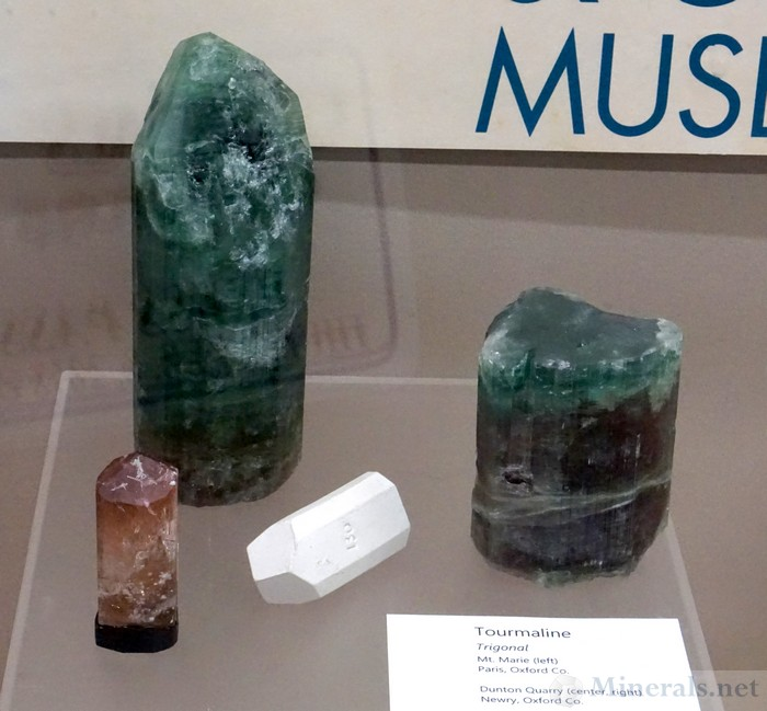 Tourmaline from Mt. Marie, Paris (L) and the Dunton Quarry, Newry (R), Maine, Maine Mineral & Gem Museum