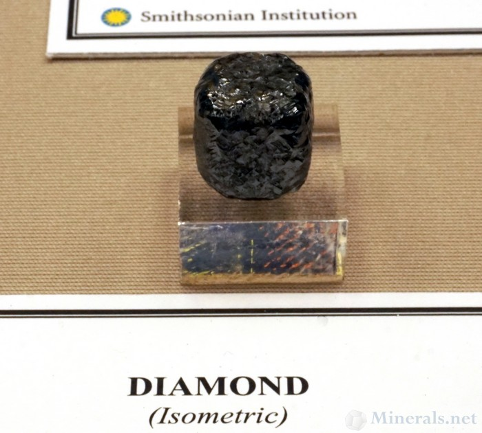Dark Gray Cubic Diamond from South Africa, Museum Gift of Washington Roebling, Smithsonian Institution National Museum of Natural History