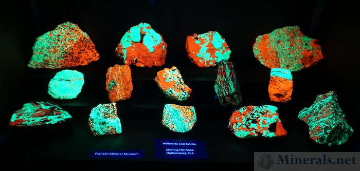 Fluorescent Willemite (Green) & Calcite (Red) from the Sterling Hill Mine, Ogdensburg, NJ, Franklin Mineral Museum