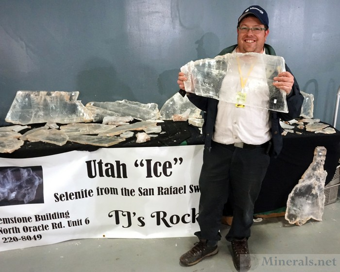 Hershel with the Large Selenite Crystals from the San Rafael Swell, Utah, TJ's Rocks