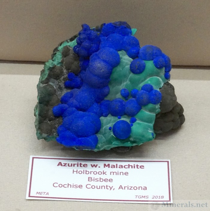 Azurite with Malachite from the Holbrook Mine, Bisbee, Arizona, META (Mineral Enthusiasts of the Tucson Area)