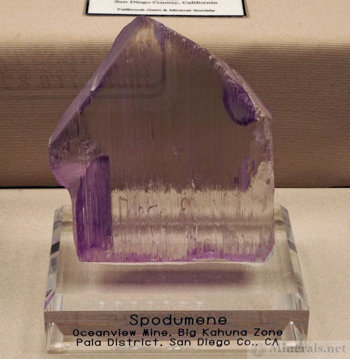 >Kunzite Crystal from the Big Kahuna Pocket, Oceanview Mine, Pala, California, Fallbrook Gem & Mineral Society