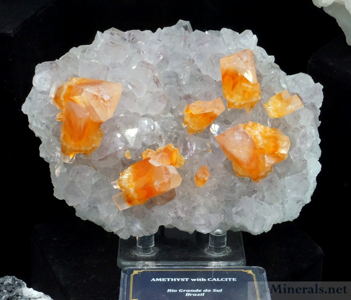 Bright Orange Calcite on Pale Amethyst from Rio Grande do Sul, Brazil, Crystal Classics (Ian Bruce