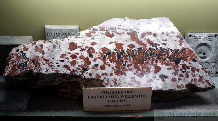 Polished Ore of Franklinite, Willemite, and Calcite