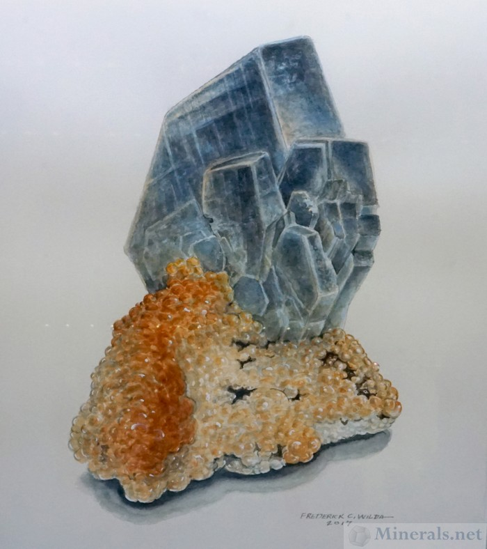 Barite on Calcite from the Montreal Mine Fred Wilda Mineral Painting