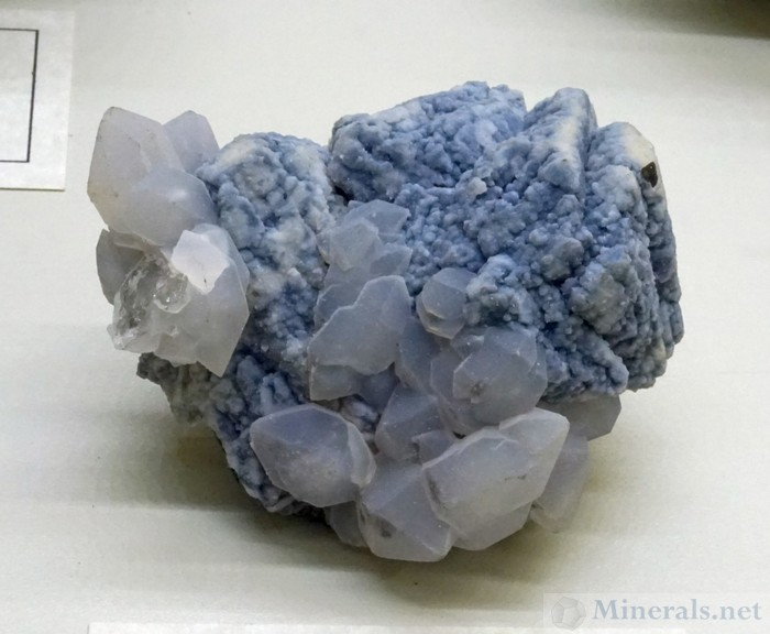 Blue Chalcedony over Sphalerite with Frosty Quartz from the El Mochito Mine, Santa Barbara Dept, Honduras