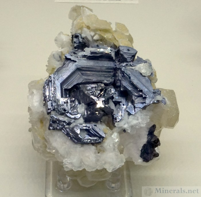 Hoppered Galena Crystals with Calcite from the 2nd Sovietsky Mine, Dal'nergorsk, Russia