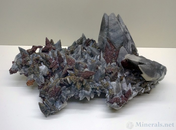 Large Calcite Crystals with Iridescent Marcasite from the Brushy Creek Mine, Greely, Missouri