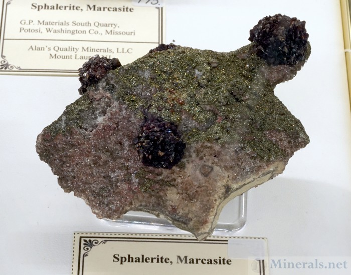 Sphalerite and Marcasite from the G.P. Materials South Quarry, Potosi, Washington Co., Missouri, Alan's Quality Minerals