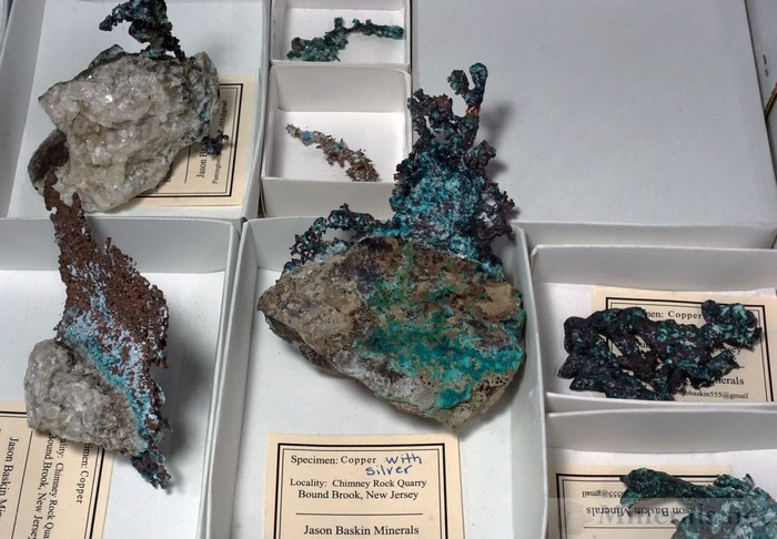 Copper, Silver, and Chrysocolla from the Chimney Rock Quarry, Bound Brook, NJ, Jason Baskin Minerals