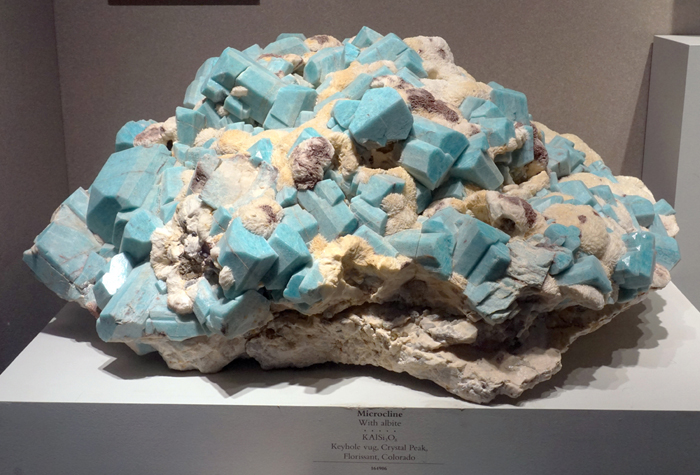 Microcline var. Amazonite with Albite from the Keyhole Vug, Crystal Peak, Florrisant, Colorado