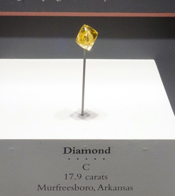 Yellow Diamond Octahedral Crystal from Murfreesboro, Arkansas