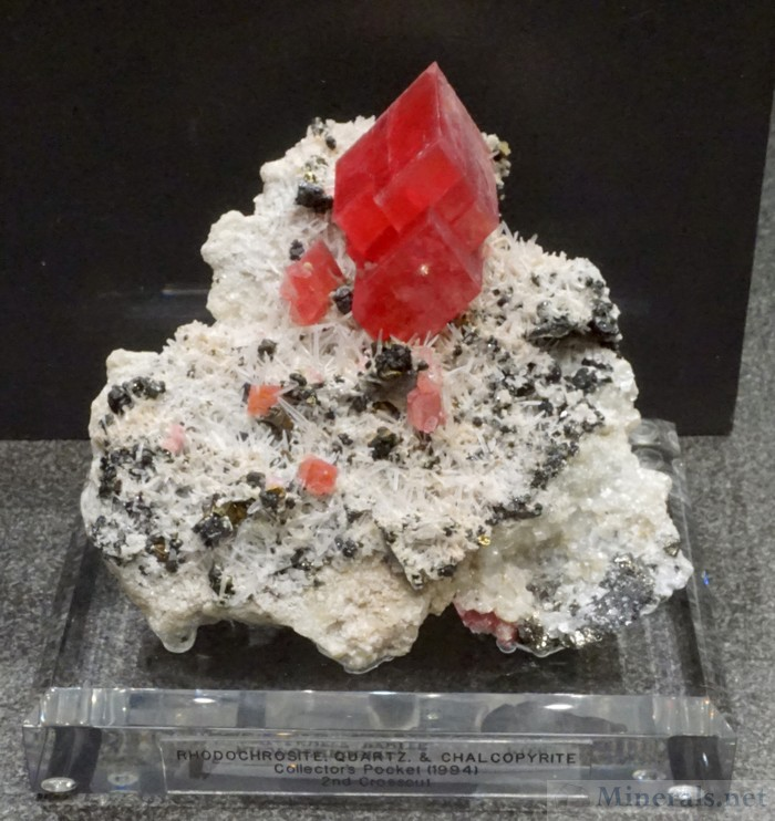 Rhodochrosite, Quartz, and Chalcopyrite from the Collectors Pocket (1994), Alma, Colorado