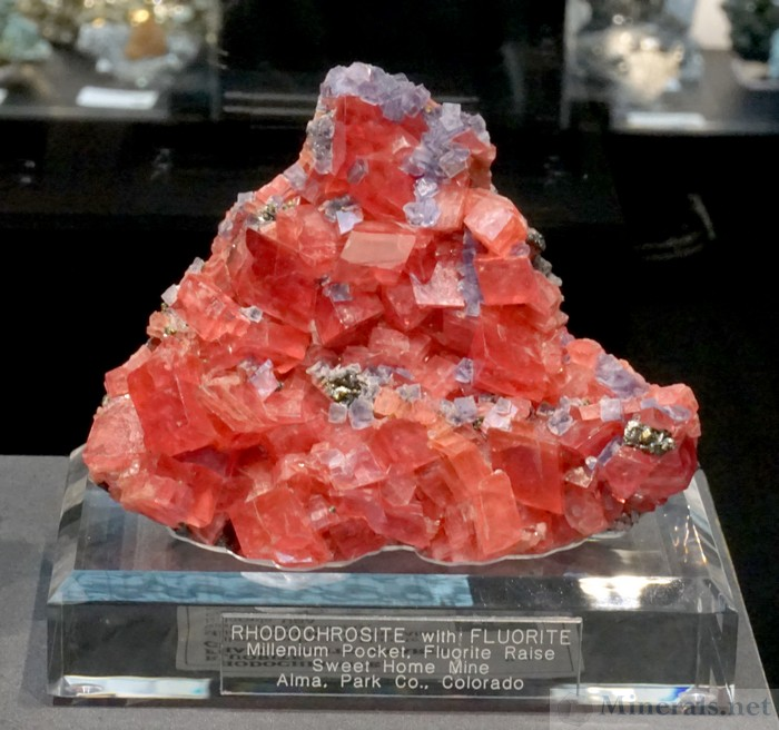Rhodochrosite with Fluorite from the Millenium Pocket, Sweet Home Mine, Alma, Colorado