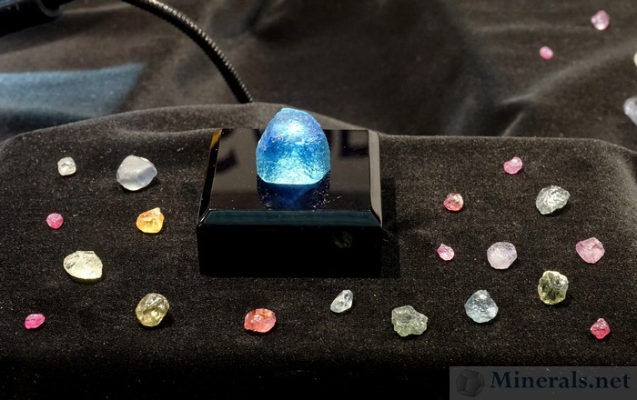 Zoomed into Sapphire from the Rock Creek Territory, near Philipsburg, Montana, with a centerpiece 64 ct. Rough Crystal